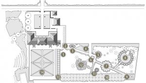 Plan détaillé des plantes et allées des Jardins de la Ballue en Bretagne.